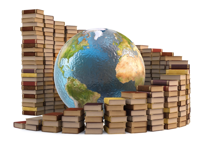 globe with stacks of books. isolated on white.